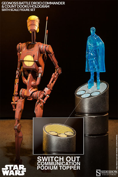 Geonosis Battle Droid Commander and Count Dooku Hologram